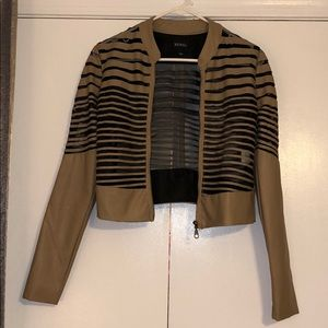 Tan MESH and leather jacket/ Size small